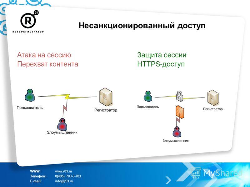 Несанкционированный доступ WWW:www.r01.ru Телефон:8(495) 783-3-783 E-mail:info@r01.ru Атака на сессию Перехват контента Защита сессии HTTPS-доступ