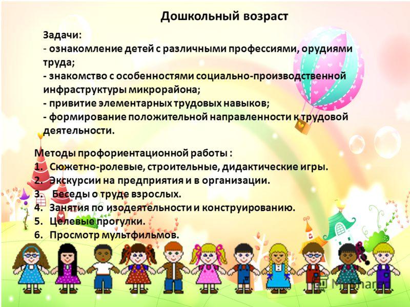 Дошкольный возраст Задачи: - ознакомление детей с различными профессиями, орудиями труда; - знакомство с особенностями социально-производственной инфраструктуры микрорайона; - привитие элементарных трудовых навыков; - формирование положительной напра
