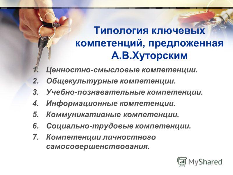 Типология ключевых компетенций, предложенная А.В.Хуторским 1.Ценностно-смысловые компетенции. 2.Общекультурные компетенции. 3.Учебно-познавательные компетенции. 4.Информационные компетенции. 5.Коммуникативные компетенции. 6.Социально-трудовые компете