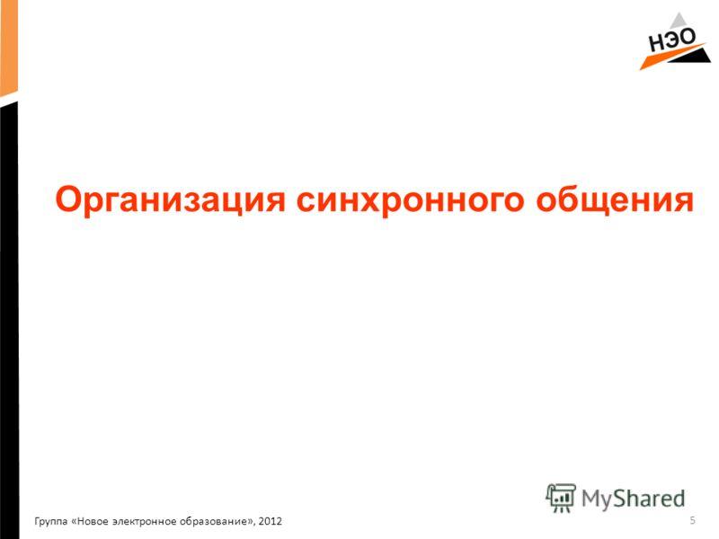 Группа «Новое электронное образование», 2012 Организация синхронного общения 5