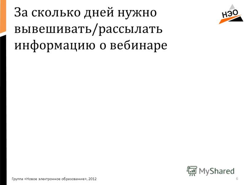 За сколько дней нужно вывешивать/рассылать информацию о вебинаре Группа «Новое электронное образование», 2012 6
