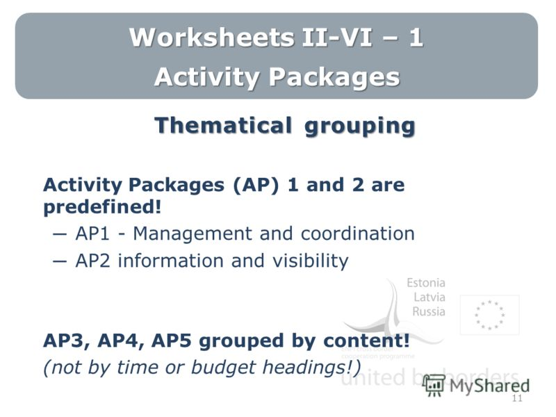 Worksheets II-VI – 1 Activity Packages Thematical grouping Activity Packages (AP) 1 and 2 are predefined! AP1 - Management and coordination AP2 information and visibility AP3, AP4, AP5 grouped by content! (not by time or budget headings!) 11