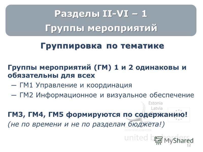 Разделы II-VI – 1 Группы мероприятий Группировка по тематике Группы мероприятий (ГМ) 1 и 2 одинаковы и обязательны для всех ГМ1 Управление и координация ГМ2 Информационное и визуальное обеспечение ГМ3, ГМ4, ГМ5 формируются по содержанию! (не по време