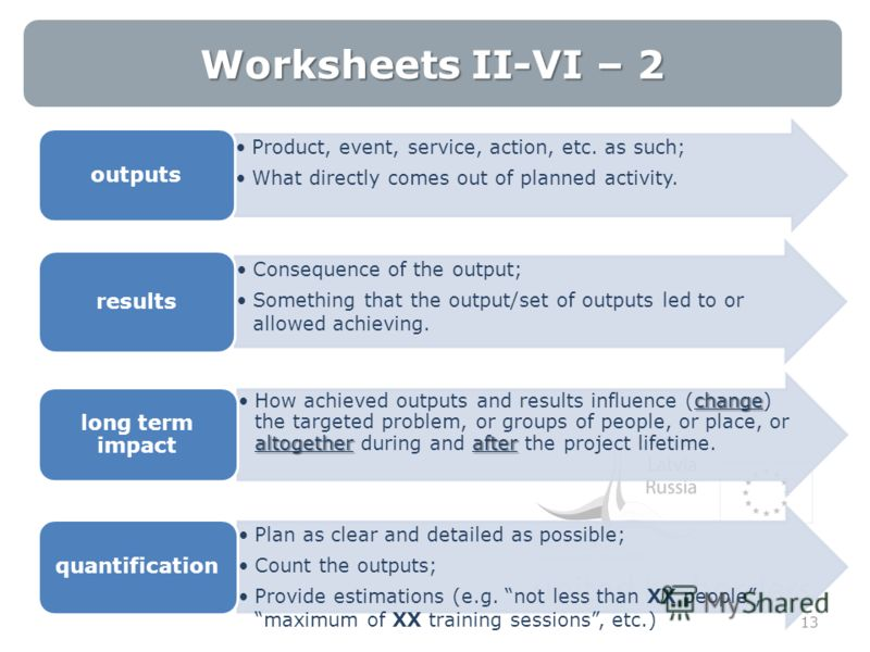 Worksheets II-VI – 2 13 Product, event, service, action, etc. as such; What directly comes out of planned activity. outputs Consequence of the output; Something that the output/set of outputs led to or allowed achieving. results change altogether aft