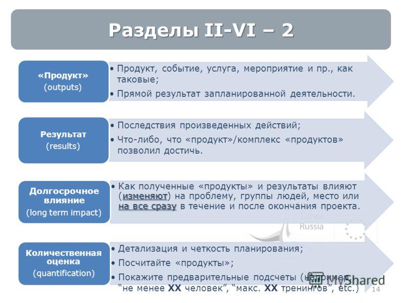 Разделы II-VI – 2 14 Продукт, событие, услуга, мероприятие и пр., как таковые; Прямой результат запланированной деятельности. «Продукт» (outputs) Последствия произведенных действий; Что-либо, что «продукт»/комплекс «продуктов» позволил достичь. Резул