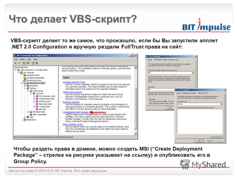 Авторское право © 2005-2012 BIT Impulse. Все права защищены. Что делает VBS-скрипт? VBS-скрипт делает то же самое, что произошло, если бы Вы запустили апплет.NET 2.0 Configuration и вручную раздали FullTrust права на сайт: Чтобы раздать права в домен