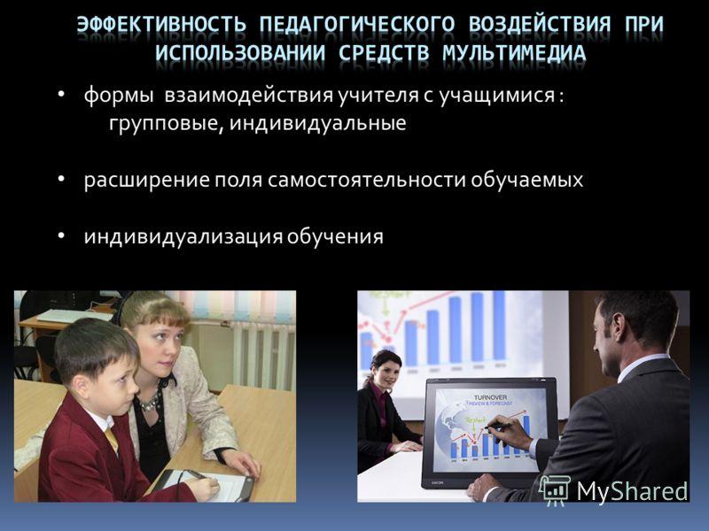 формы взаимодействия учителя с учащимися : групповые, индивидуальные расширение поля самостоятельности обучаемых индивидуализация обучения