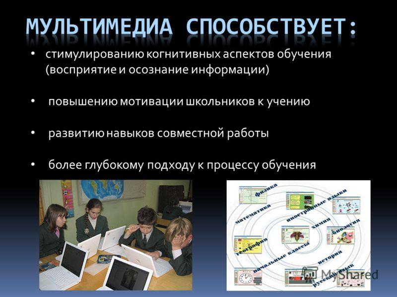 стимулированию когнитивных аспектов обучения (восприятие и осознание информации) повышению мотивации школьников к учению развитию навыков совместной работы более глубокому подходу к процессу обучения