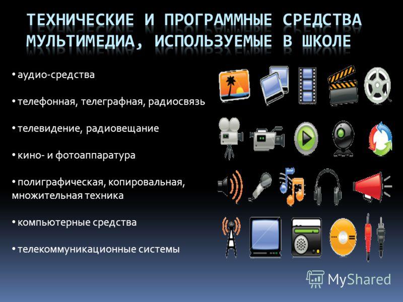 аудио-средства телефонная, телеграфная, радиосвязь телевидение, радиовещание кино- и фотоаппаратура полиграфическая, копировальная, множительная техника компьютерные средства телекоммуникационные системы
