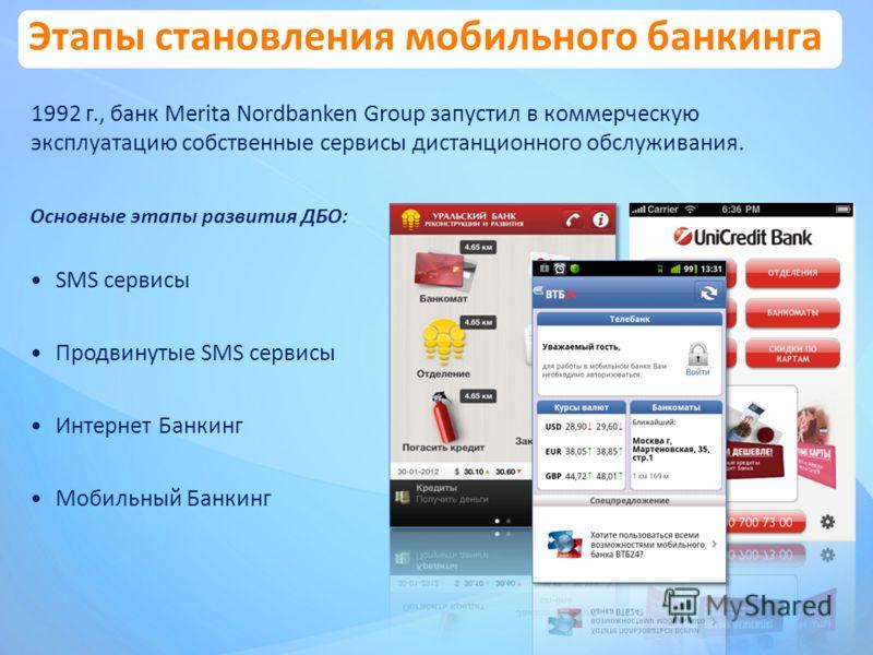 Этапы становления мобильного банкинга 1992 г., банк Merita Nordbanken Group запустил в коммерческую эксплуатацию собственные сервисы дистанционного обслуживания. Основные этапы развития ДБО: SMS сервисы Продвинутые SMS сервисы Интернет Банкинг Мобиль