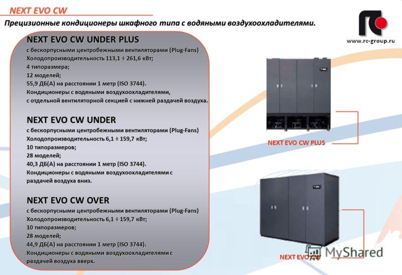 3 NEXT EVO CW Прецизионные кондиционеры шкафного типа с водяными воздухоохладителями. NEXT EVO CW PLUS NEXT EVO CW NEXT EVO CW UNDER PLUS с бескорпусными центробежными вентиляторами (Plug-Fans) Холодопроизводительность 113,1 ÷ 261,6 кВт; 4 типоразмер