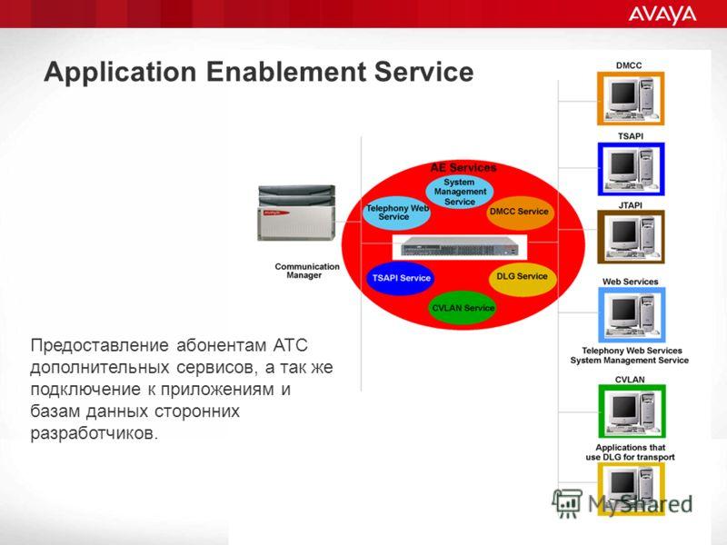 Application Enablement Service Предоставление абонентам АТС дополнительных сервисов, а так же подключение к приложениям и базам данных сторонних разработчиков.