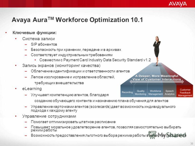 Avaya Aura TM Workforce Optimization 10.1 38 Ключевые функции: Система записи –SIP абонентов –Безопасность при хранении, передаче и в архивах –Соответствует индустриальным требованиям Совместим с Payment Card Industry Data Security Standard v1.2 Запи