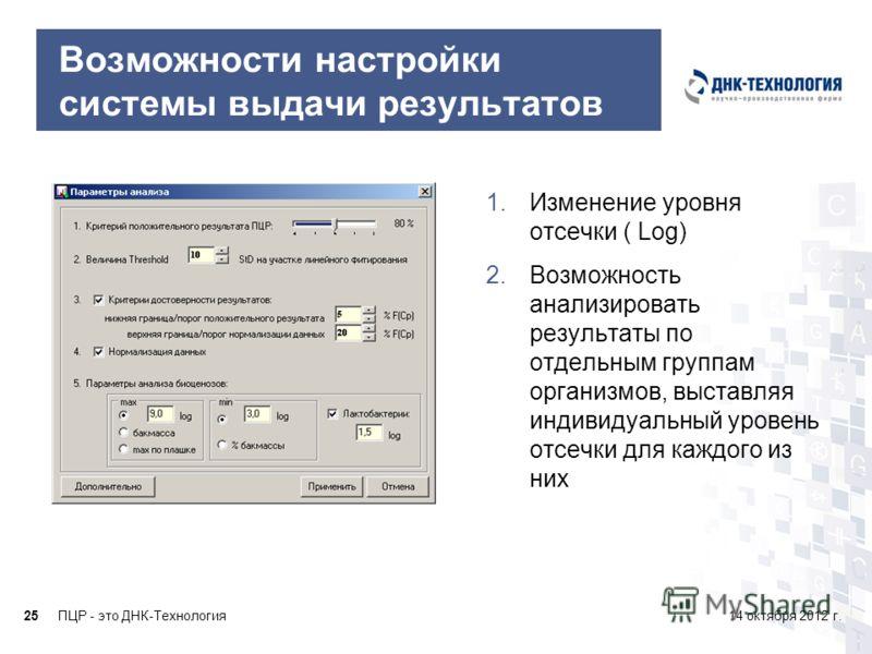 ПЦР - это ДНК-Технология2514 октября 2012 г. Возможности настройки системы выдачи результатов 1.Изменение уровня отсечки ( Log) 2.Возможность анализировать результаты по отдельным группам организмов, выставляя индивидуальный уровень отсечки для каждо
