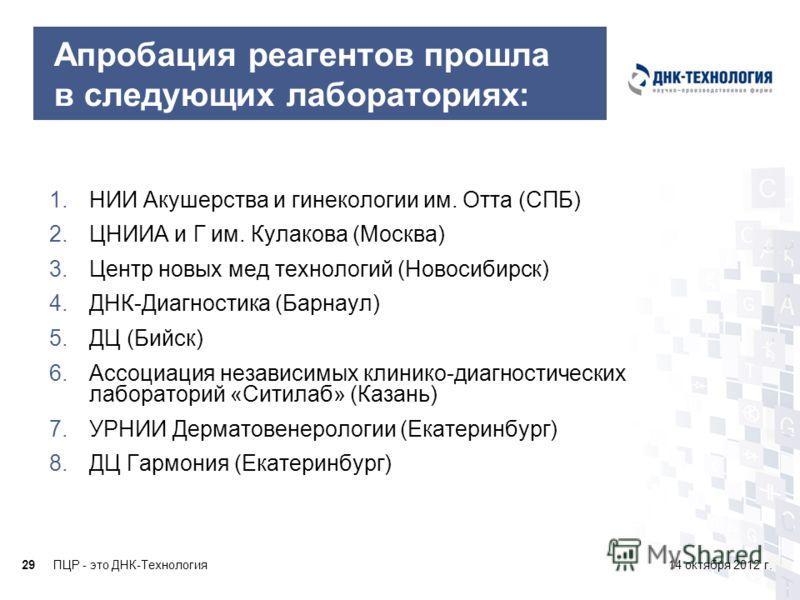 ПЦР - это ДНК-Технология2914 октября 2012 г. Апробация реагентов прошла в следующих лабораториях: 1.НИИ Акушерства и гинекологии им. Отта (СПБ) 2.ЦНИИА и Г им. Кулакова (Москва) 3.Центр новых мед технологий (Новосибирск) 4.ДНК-Диагностика (Барнаул) 5