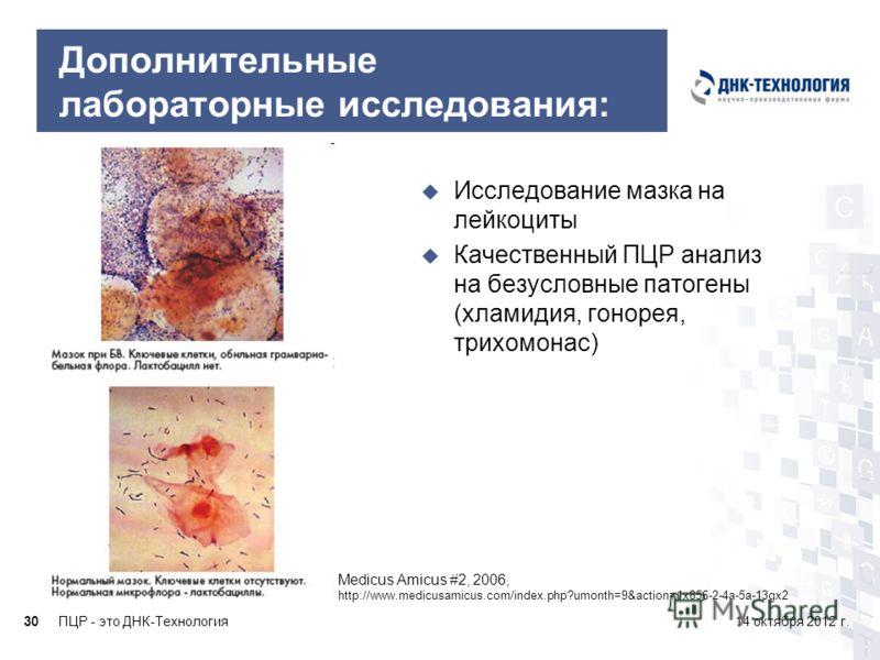 ПЦР - это ДНК-Технология3014 октября 2012 г. Дополнительные лабораторные исследования: Medicus Amicus #2, 2006, http://www.medicusamicus.com/index.php?umonth=9&action=1x856-2-4a-5a-13gx2 Исследование мазка на лейкоциты Качественный ПЦР анализ на безу