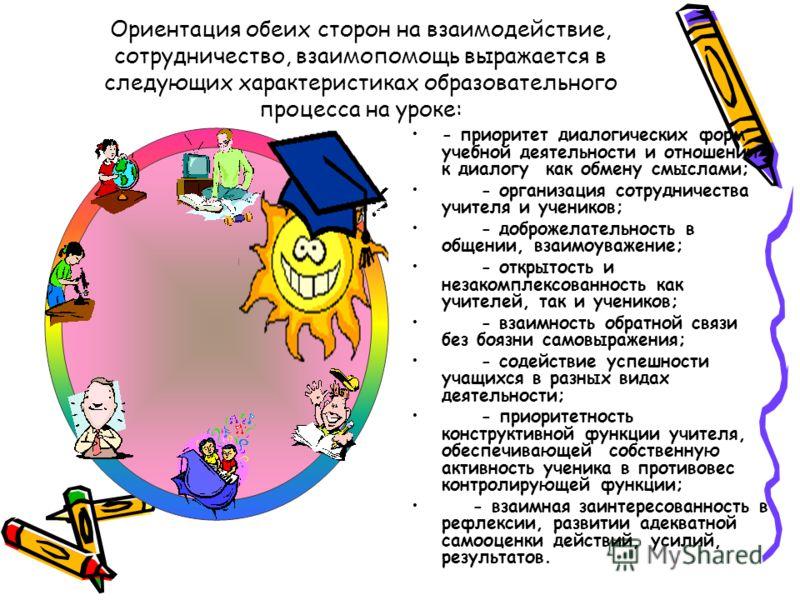 Ориентация обеих сторон на взаимодействие, сотрудничество, взаимопомощь выражается в следующих характеристиках образовательного процесса на уроке: - приоритет диалогических форм учебной деятельности и отношении к диалогу как обмену смыслами; - органи