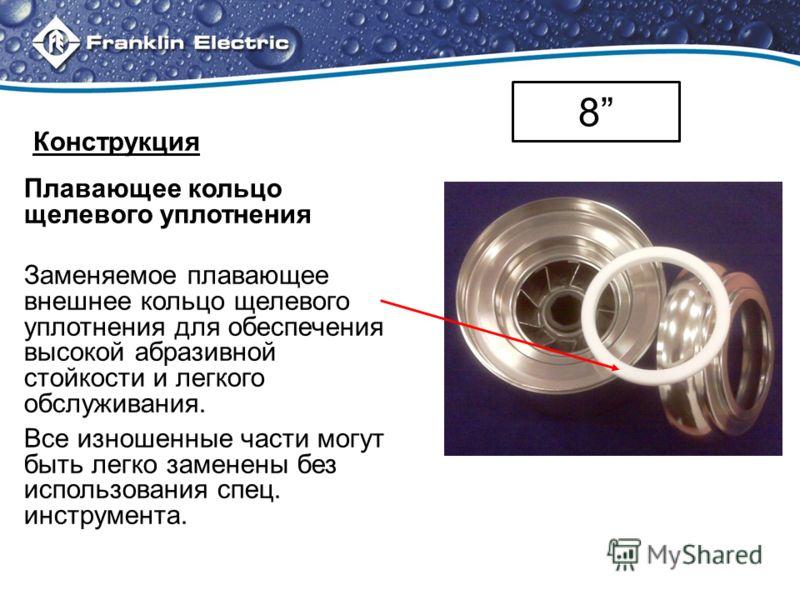 Плавающее кольцо щелевого уплотнения Заменяемое плавающее внешнее кольцо щелевого уплотнения для обеспечения высокой абразивной стойкости и легкого обслуживания. Все изношенные части могут быть легко заменены без использования спец. инструмента. 8 Ко