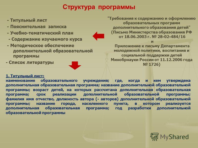 Структура программы - Титульный лист - Пояснительная записка - Учебно-тематический план - Содержание изучаемого курса - Методическое обеспечение дополнительной образовательной программы - Список литературы