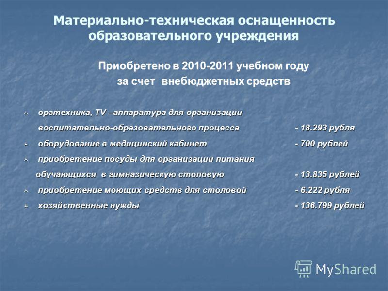 Материально-техническая оснащенность образовательного учреждения Приобретено в 2010-2011 учебном году за счет внебюджетных средств оргтехника, TV –аппаратура для организации оргтехника, TV –аппаратура для организации воспитательно-образовательного пр