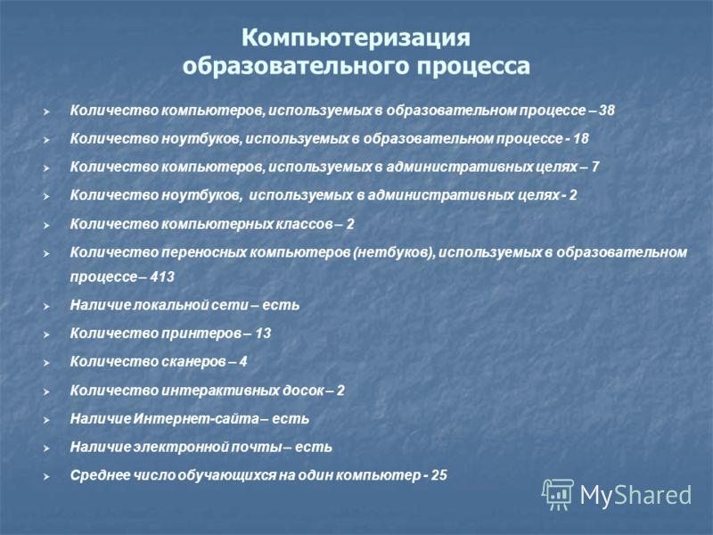 Компьютеризация образовательного процесса Количество компьютеров, используемых в образовательном процессе – 38 Количество ноутбуков, используемых в образовательном процессе - 18 Количество компьютеров, используемых в административных целях – 7 Количе