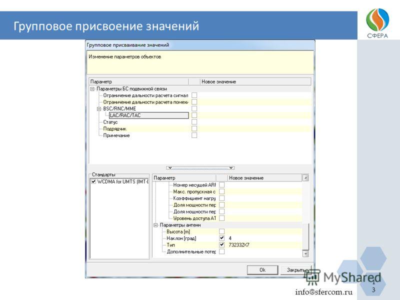 Групповое присвоение значений info@sfercom.ru 13