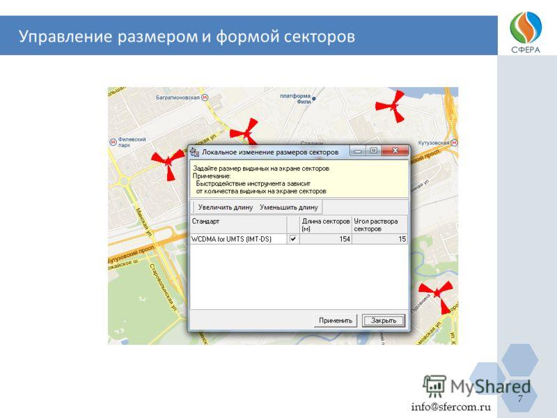 Управление размером и формой секторов info@sfercom.ru 7