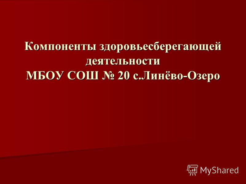 Компоненты здоровьесберегающей деятельности МБОУ СОШ 20 с.Линёво-Озеро