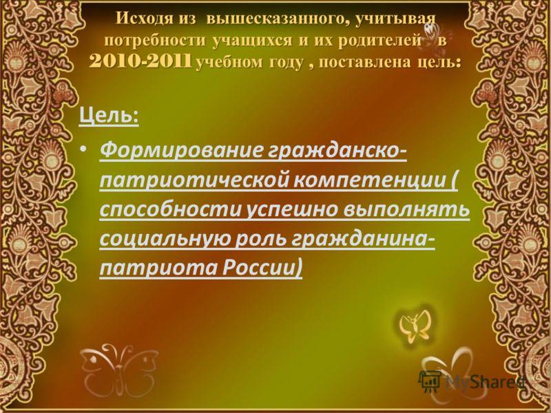 Исходя из вышесказанного, учитывая потребности учащихся и их родителей в 2010-2011 учебном году, поставлена цель : Цель: Формирование гражданско- патриотической компетенции ( способности успешно выполнять социальную роль гражданина- патриота России)