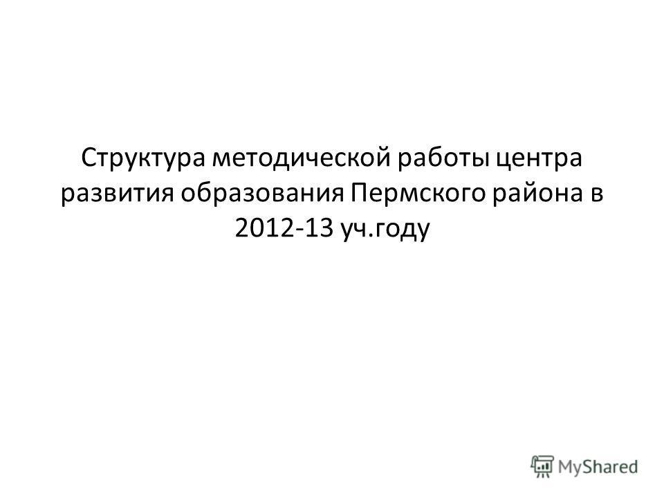 Структура методической работы центра развития образования Пермского района в 2012-13 уч.году