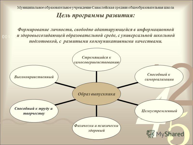 Цель программы развития: Формирование личности, свободно адаптирующейся в информационной и здоровьесозидающей образовательной среде, с универсальной школьной подготовкой, с развитыми коммуникативными качествами. Муниципальное образовательное учрежден