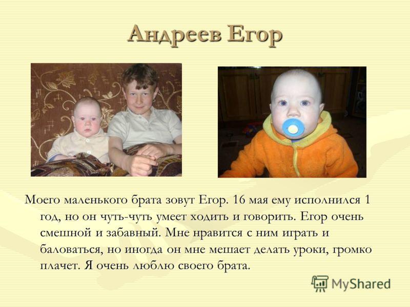 Андреев Егор Моего маленького брата зовут Егор. 16 мая ему исполнился 1 год, но он чуть-чуть умеет ходить и говорить. Егор очень смешной и забавный. Мне нравится с ним играть и баловаться, но иногда он мне мешает делать уроки, громко плачет. Я очень