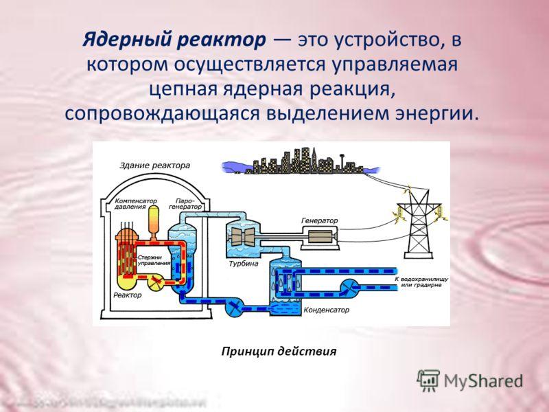 Ядерный реактор это устройство, в котором осуществляется управляемая цепная ядерная реакция, сопровождающаяся выделением энергии. Принцип действия