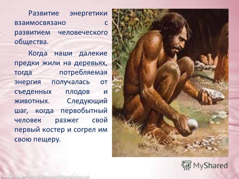 Развитие энергетики взаимосвязано с развитием человеческого общества. Когда наши далекие предки жили на деревьях, тогда потребляемая энергия получалась от съеденных плодов и животных. Следующий шаг, когда первобытный человек разжег свой первый костер