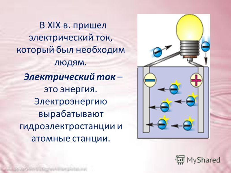 В XIX в. пришел электрический ток, который был необходим людям. Электрический ток – это энергия. Электроэнергию вырабатывают гидроэлектростанции и атомные станции.