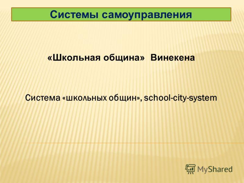 Системы самоуправления «Школьная община» Винекена Система «школьных общин», school-city-system