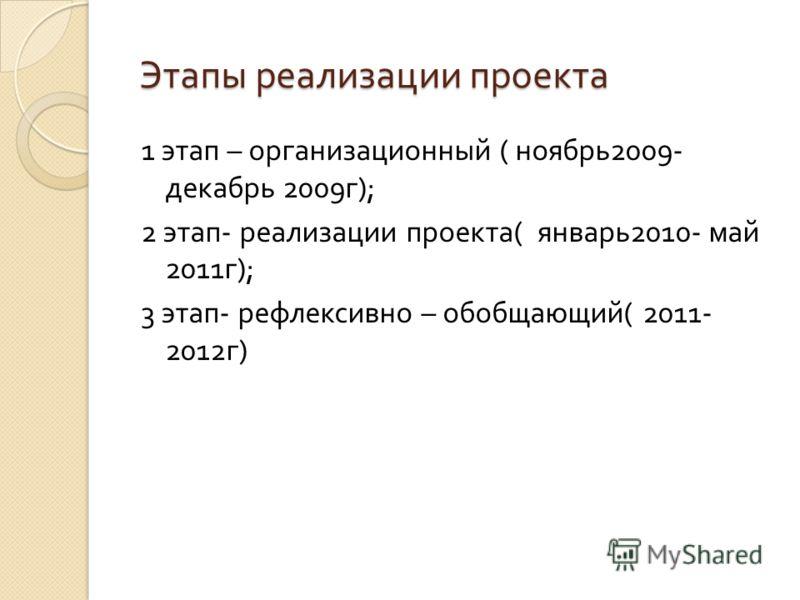 Этапы реализации проекта Этапы реализации проекта 1 этап – организационный ( ноябрь 2009- декабрь 2009 г ); 2 этап - реализации проекта ( январь 2010- май 2011 г ); 3 этап - рефлексивно – обобщающий ( 2011- 2012 г )