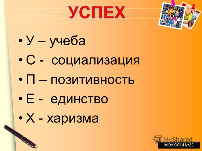 www.themegallery.com У – учеба С - социализация П – позитивность Е - единство Х - харизма МОУ СОШ 22