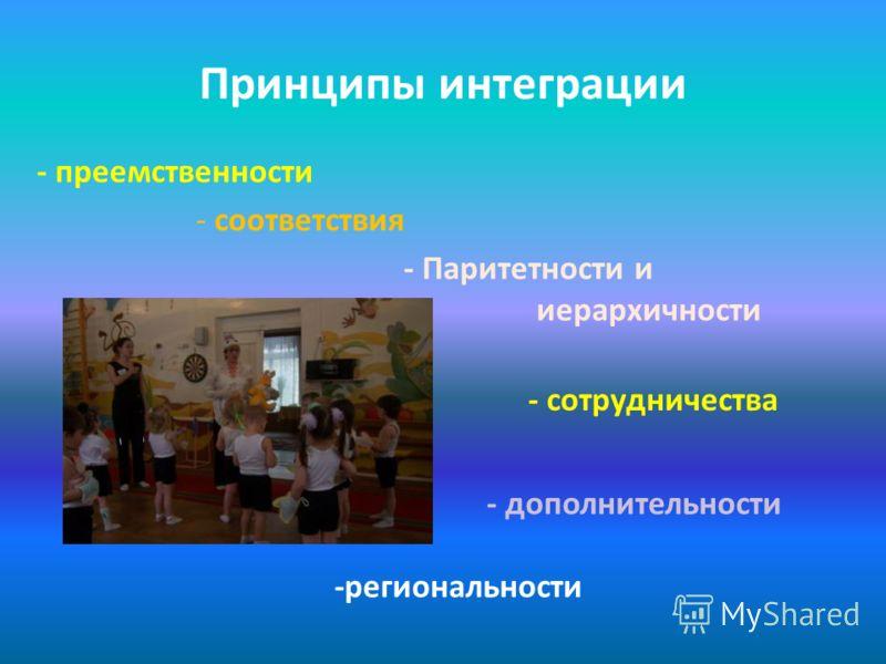 Принципы интеграции - преемственности - соответствия - Паритетности и иерархичности - сотрудничества - дополнительности -региональности