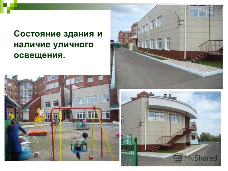 Состояние здания и наличие уличного освещения.
