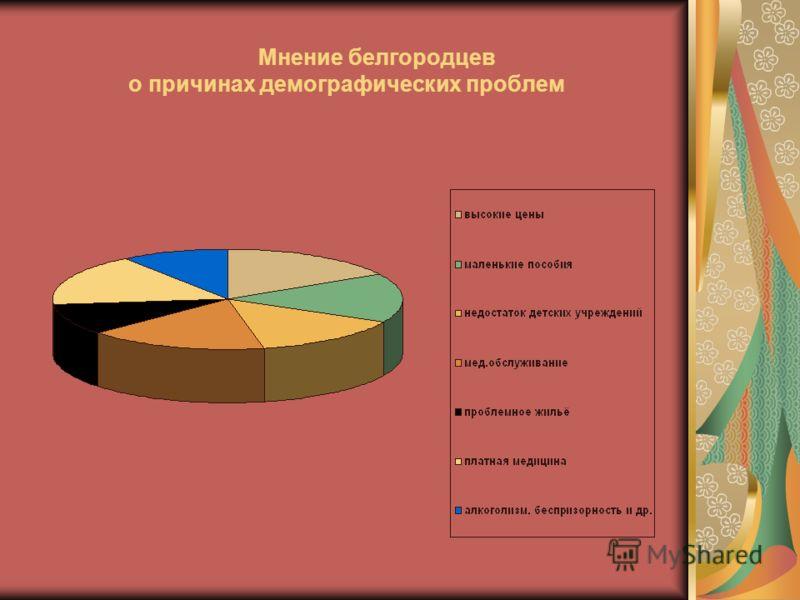 Мнение белгородцев о причинах демографических проблем