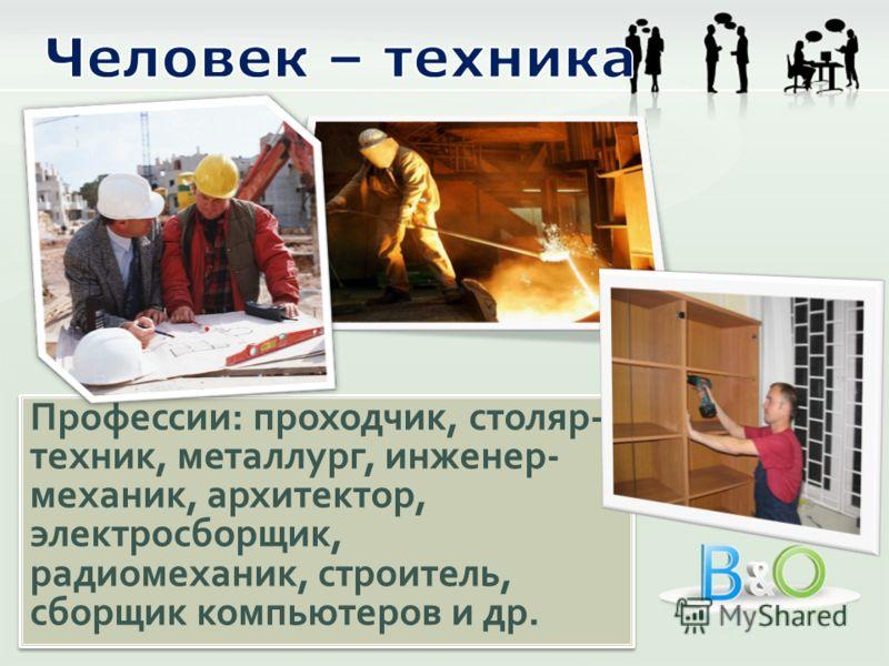 Профессии: проходчик, столяр- техник, металлург, инженер- механик, архитектор, электросборщик, радиомеханик, строитель, сборщик компьютеров и др.