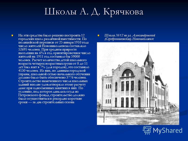 Школы А. Д. Крячкова На эти средства было решено построить 12 городских школ различной вместимости. По полицейской переписи от 25 января 1910 года число жителей Новониколаевска составляло 52695 человек. При среднем приросте населения на 6% в год орие