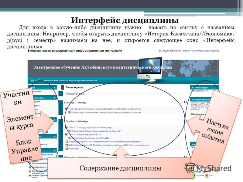 Для входа в какую-либо дисциплину нужно нажать на ссылку с названием дисциплины. Например, чтобы открыть дисциплину «История Казахстана//Экономика- 3(рус) 1 семестр» нажимаем на нее, и откроется следующее окно «Интерфейс дисциплины» Участни ки Элемен