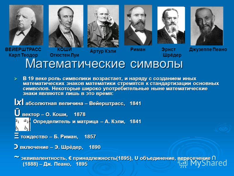 Математические символы В 19 веке роль символики возрастает, и наряду с созданием иных математических знаков математики стремятся к стандартизации основных символов. Некоторые широко употребительные ныне математические знаки являются лишь в это время: