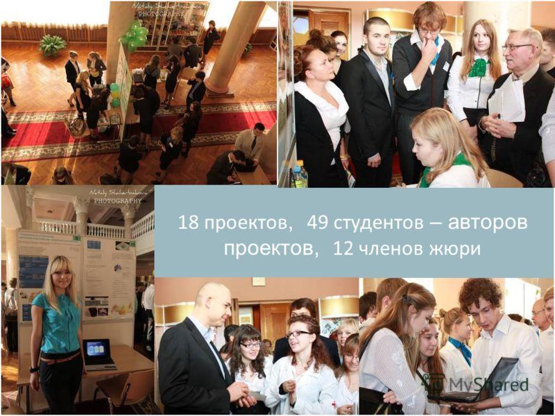 18 проектов, 49 студентов – авторов проектов, 12 членов жюри