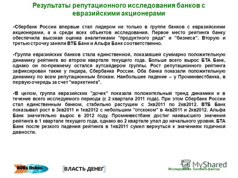 Исследование Goodwill-фактор Результаты репутационного исследования банков с евразийскими акционерами Сбербанк России впервые стал лидером не только в группе банков с евразийскими акционерами, а и среди всех объектов исследования. Первое место рейтин