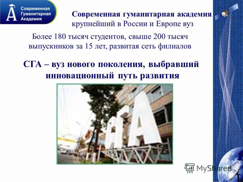 Современная гуманитарная академия – крупнейший в России и Европе вуз Более 180 тысяч студентов, свыше 200 тысяч выпускников за 15 лет, развитая сеть филиалов СГА – вуз нового поколения, выбравший инновационный путь развития