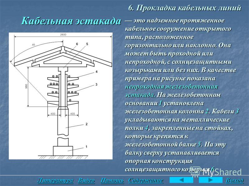 6. Прокладка кабельных линий Кабельная эстакада это надземное протяженное кабельное сооружение открытого типа, расположенное горизонтально или наклонно. Она может быть проходной или непроходной, с солнцезащитными козырьками или без них. В качестве пр