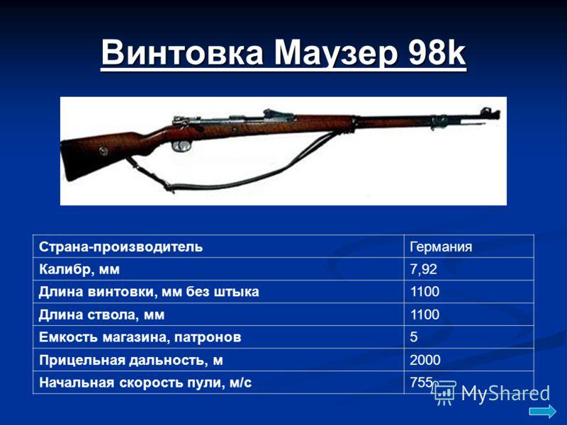 Винтовка Маузер 98k Страна-производительГермания Калибр, мм7,92 Длина винтовки, мм без штыка1100 Длина ствола, мм1100 Емкость магазина, патронов5 Прицельная дальность, м2000 Начальная скорость пули, м/с755